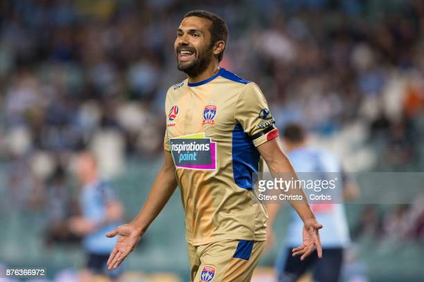 Nikolai ToporStanley of the Jets speaks to the assistant referee during the round seven ALeague match between Sydney FC and Newcastle Jets at Allianz...