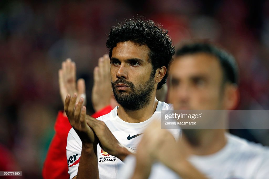 Nikolai Topor-Stanley of the Wanderers applauds the Wanderers fans after the 2015/16 A-League Grand Final match between Adelaide United and the Western Sydney Wanderers at Adelaide Oval on May 1, 2016 in Adelaide, Australia.
