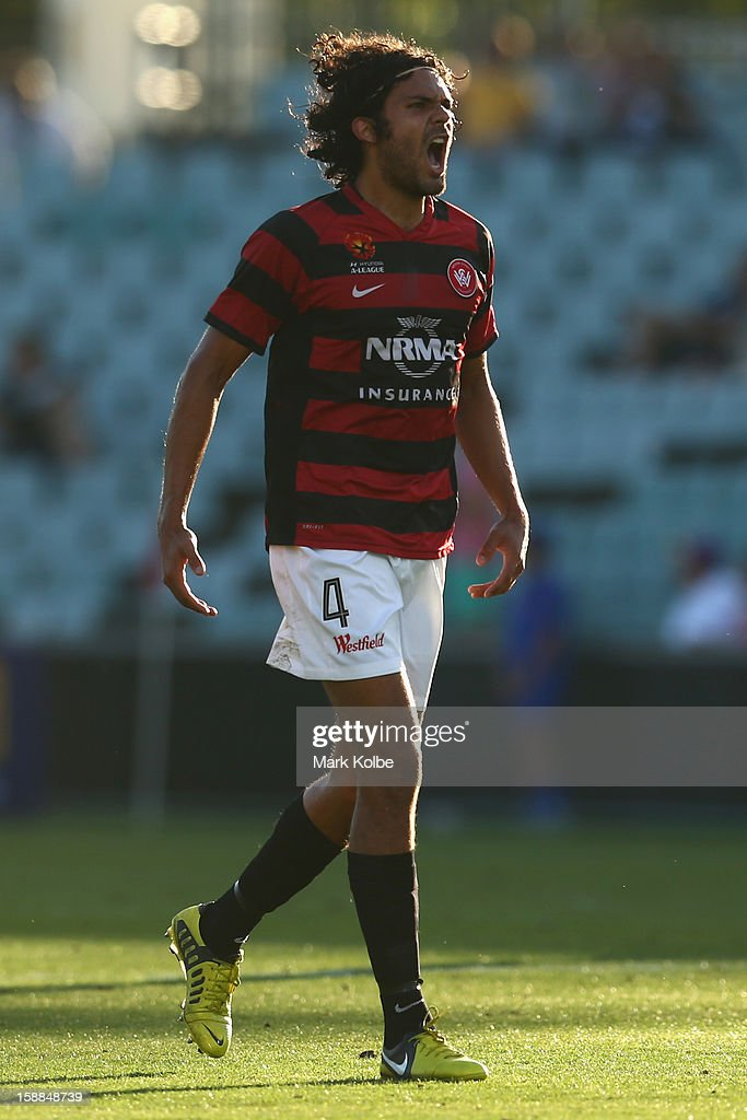 Nikolai Topor-Stanley of the Wanderers celebrates after Shinji Ono of the Wanderers scored a goal during the round 14 A-League match between the Western Sydney Wanderers and the Melbourne Victory at Parramatta Stadium on January 1, 2013 in Sydney, Australia.