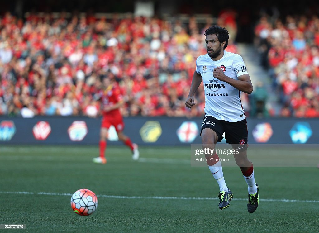 Nikolai Topor-Stanley of the Wanderers chases the ball during the 2015/16 A-League Grand Final match between Adelaide United and the Western Sydney Wanderers at Adelaide Oval on May 1, 2016 in Adelaide, Australia.