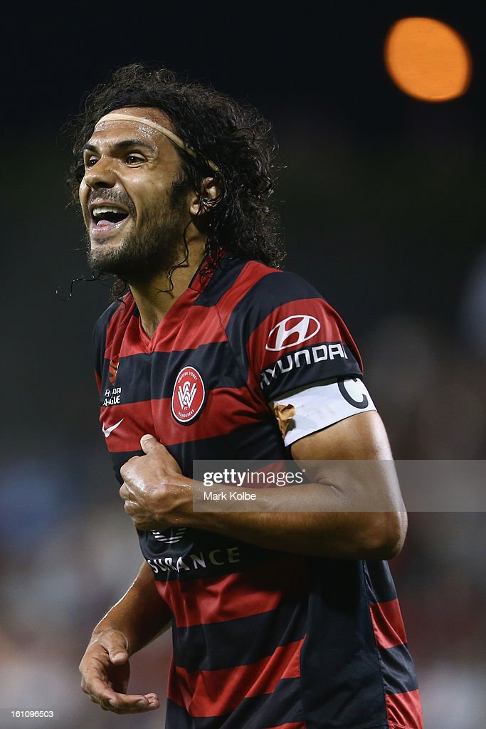 Nikolai Topor-Stanley of the Wanderers makes his point heard to the lines person during the round 20 A-League match between the Western Sydney Wanderers and the Newcastle Jets at Campbelltown Sports Stadium on February 9, 2013 in Sydney, Australia.