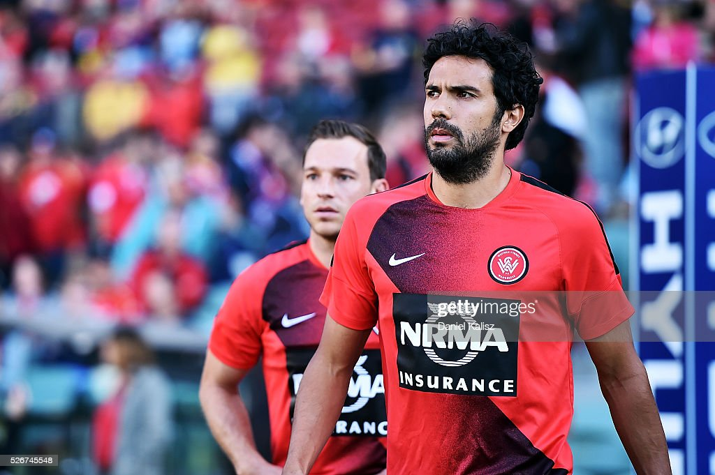 Nikolai Topor-Stanley of the Wanderes walks out onto the field prior to the 2015/16 A-League Grand Final match between Adelaide United and the Western Sydney Wanderers at Adelaide Oval on May 1, 2016 in Adelaide, Australia.