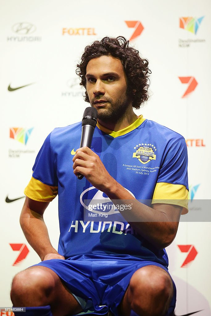 Nikolai Topor-Stanley speaks during the A-League All Stars jersey launch at Carriageworks on June 25, 2013 in Sydney, Australia.