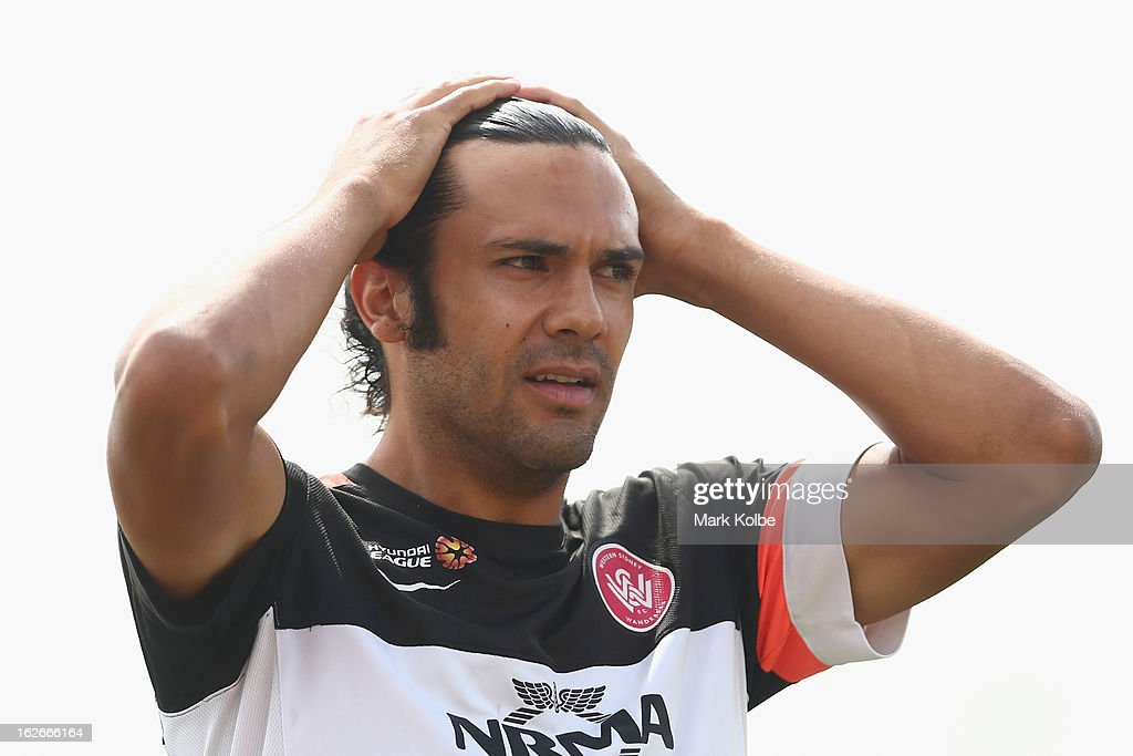 Nikolai Topor-Stanley watches on during a Western Sydney Wanderers A-League training session at Blacktown International Sportspark on February 26, 2013 in Sydney, Australia.