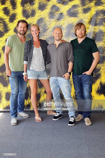Nikolaj Coster Waldau Synnove Macody Lund Aksel Hennie Morten Tyldum attend the Headhunters photocall during the 64th Festival del Film di Locarno on...