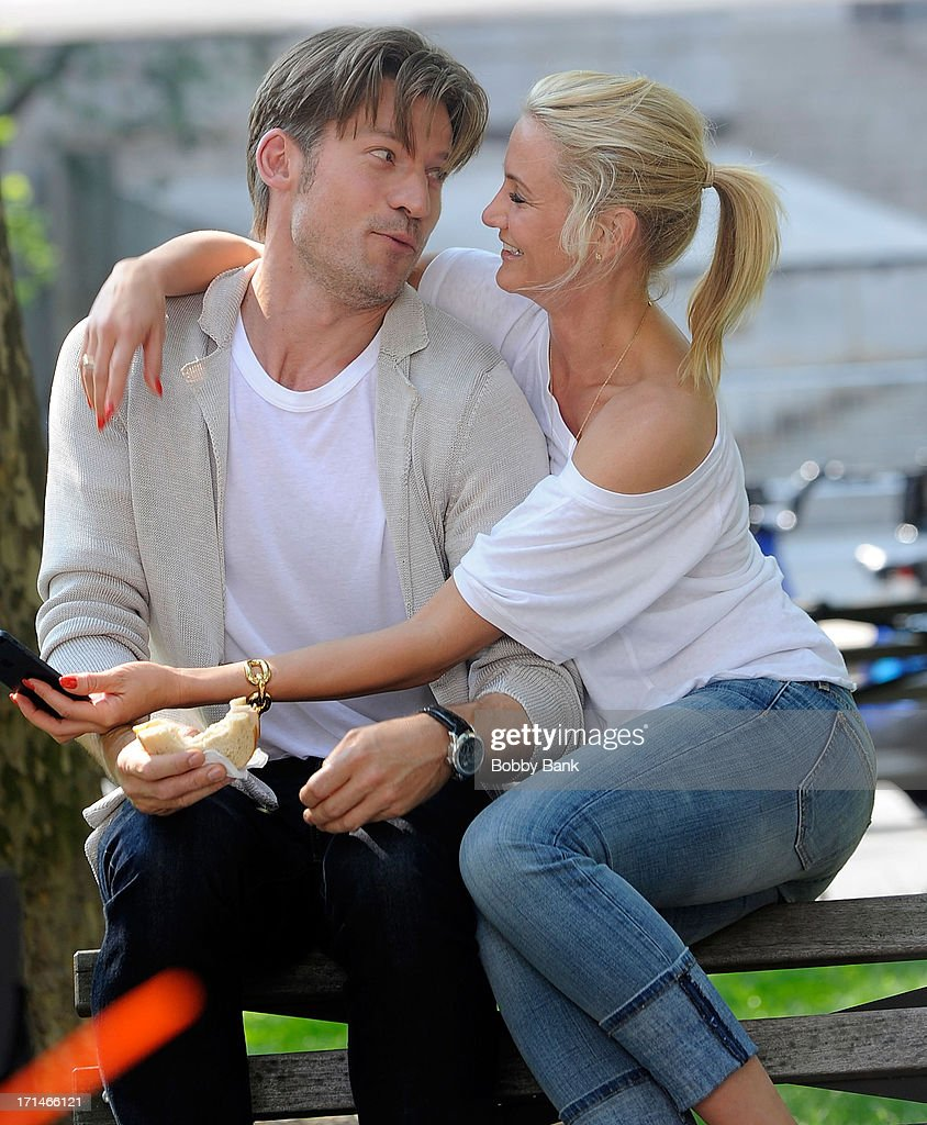 Nikolaj Coster-Waldau and Cameron Diaz on the set of 'The Other Woman' in Chinatown on June 24, 2013 in New York City.