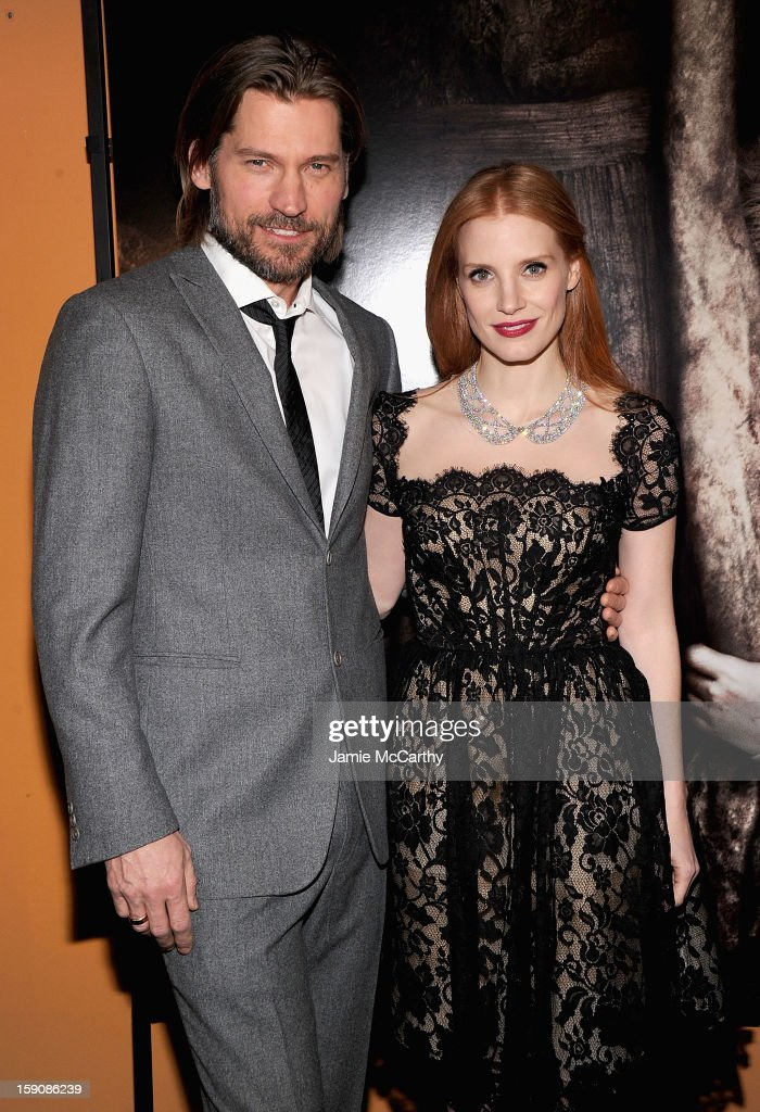 Nikolaj Coster-Waldau and <a gi-track='captionPersonalityLinkClicked' href=/galleries/search?phrase=Jessica+Chastain&family=editorial&specificpeople=653192 ng-click='$event.stopPropagation()'>Jessica Chastain</a> attend the 'Mama' New York Screening at Landmark's Sunshine Cinema on January 7, 2013 in New York City.