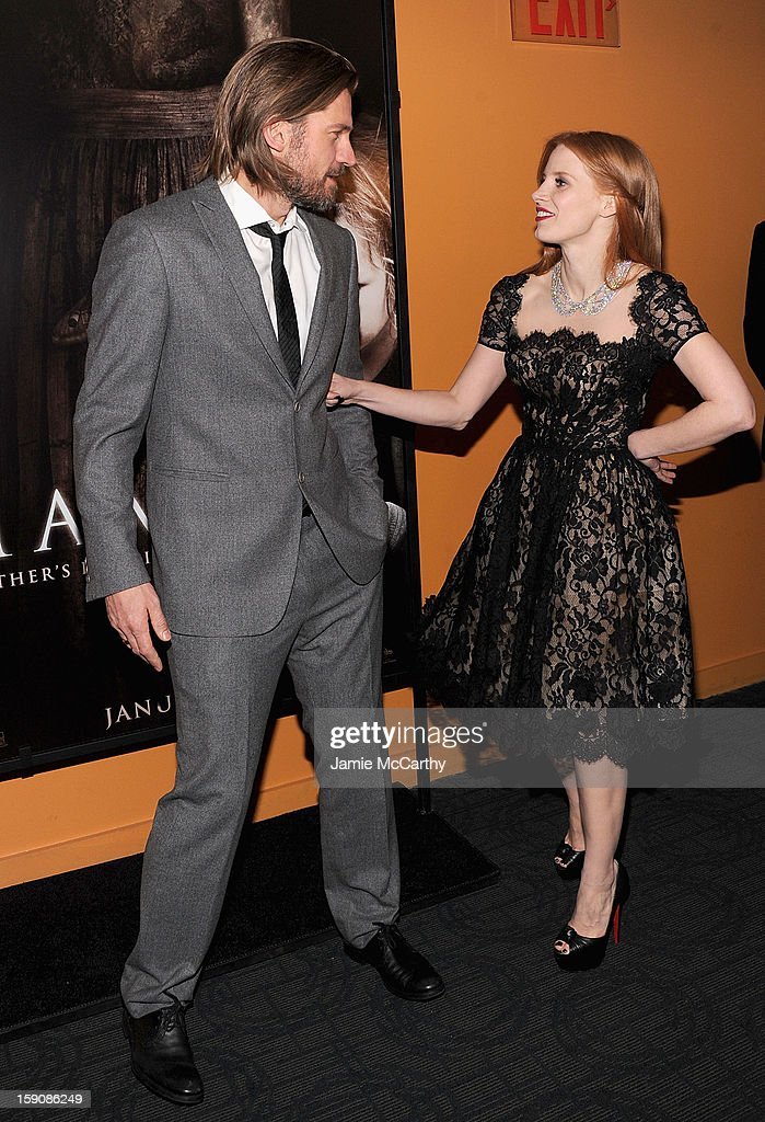 Nikolaj Coster-Waldau and Jessica Chastain attend the 'Mama' New York Screening at Landmark's Sunshine Cinema on January 7, 2013 in New York City.