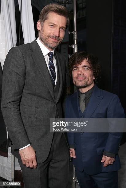 Nikolaj CosterWaldau and Peter Dinklage attend the premiere of HBO's 'Game Of Thrones' Season 6 at TCL Chinese Theatre on April 10 2016 in Hollywood...
