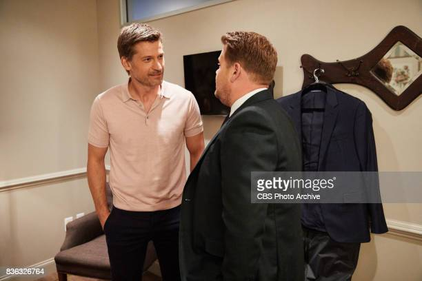 Nikolaj CosterWaldau chats in the green room with James Corden during 'The Late Late Show with James Corden' Tuesday August 15 2017 On The CBS...