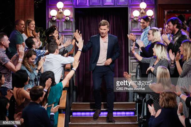 Nikolaj CosterWaldau greets the audience during 'The Late Late Show with James Corden' Tuesday August 15 2017 On The CBS Television Network