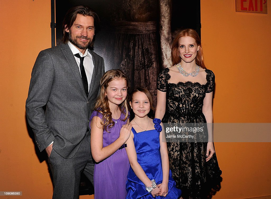 Nikolaj Coster-Waldau, Megan Charpentier, Isabelle Nelisse and <a gi-track='captionPersonalityLinkClicked' href=/galleries/search?phrase=Jessica+Chastain&family=editorial&specificpeople=653192 ng-click='$event.stopPropagation()'>Jessica Chastain</a> attend the 'Mama' New York Screening at Landmark's Sunshine Cinema on January 7, 2013 in New York City.