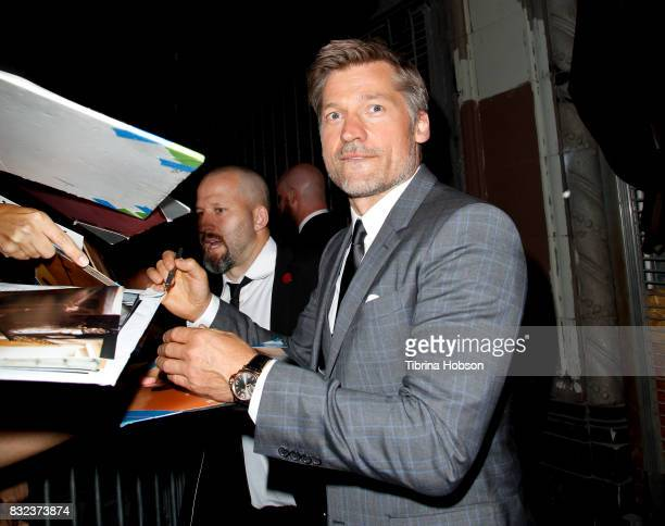 Nikolaj CosterWaldau signs autographs at the screening of 'Shot Caller' at The Theatre at Ace Hotel on August 15 2017 in Los Angeles California