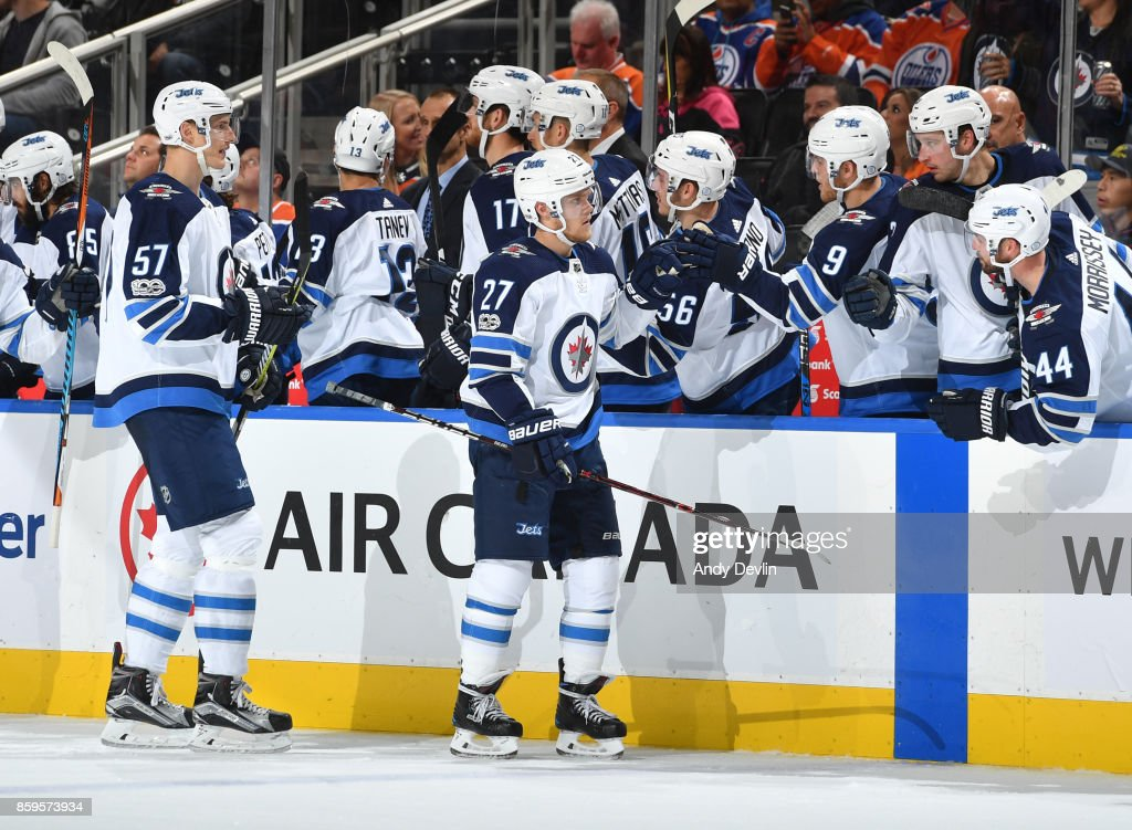 Nikolaj Ehlers #27 of the Winnipeg Jets celebrates after a goal during the game against the Edmonton Oilers on October 9, 2017 at Rogers Place in Edmonton, Alberta, Canada.