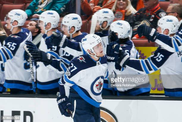 Nikolaj Ehlers of the Winnipeg Jets celebrates his first firstperiod goal with the bench during the game against the Anaheim Ducks at Honda Center on...