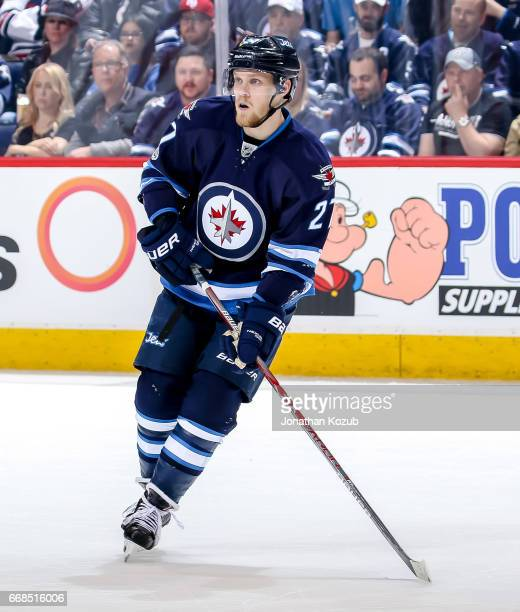 Nikolaj Ehlers of the Winnipeg Jets follows the play up the ice during third period action against the Nashville Predators at the MTS Centre on April...