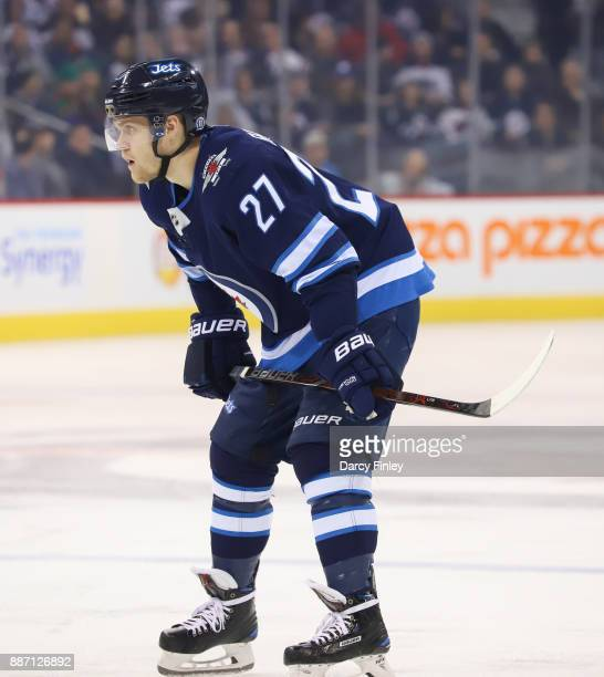 Nikolaj Ehlers of the Winnipeg Jets gets set for a first period faceoff against the Vegas Golden Knights at the Bell MTS Place on December 1 2017 in...
