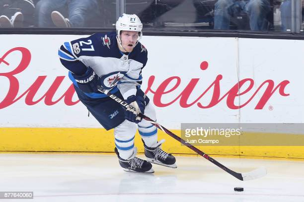 Nikolaj Ehlers of the Winnipeg Jets handles the puck during a game against the Los Angeles Kings at STAPLES Center on November 22 2017 in Los Angeles...