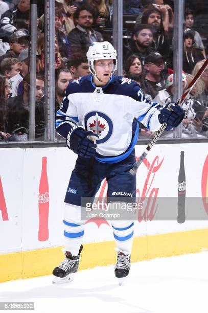 Nikolaj Ehlers of the Winnipeg Jets looks on during a game against the Los Angeles Kings at STAPLES Center on November 22 2017 in Los Angeles...