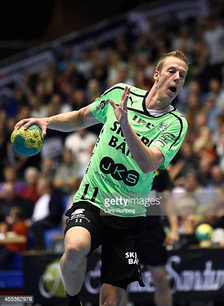 Nikolaj Markussen of Skjern Handbold in action during the Danish Men's Handball Liga match between Aalborg Handbold and Skjern Handbold at Gigantium...