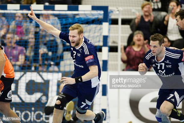 Nikolaj OE Nielsen of BjerringbroSilkeborg celebrates after scoring during the Velux EHF Handball Champions League match between BSV Pick Szeged at...