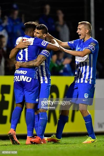 Nikolaos Karelis forward of KRC Genk scores his 3th goal and celebrates with Leon Bailey forward of KRC Genk during the Croky Cup 1/16 final match...