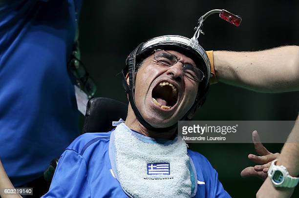 Nikolaos Pananos of Greece celebrates the victory in the Boccia Mixed Pairs BC3 Bronze Medal Match at Carioca Arena 2 on day 5 of the Rio 2016...