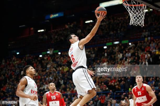 Nikolaos Zisis shoots a layup during a game of Turkish Airlines EuroLeague basketball between AX Armani Exchange Milan vs Brose Bamberg at Mediolanum...