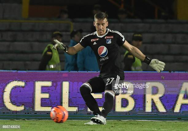 Nikolas Vikonis goalkeeper of Millonarios kicks the ball during the Semi Finals first leg match between Millonarios and Atletico Nacional as part of...