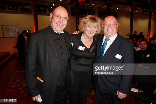 Nikolaus Schneider Anne Schneider and Norbert Bluem attend the 15th Media Award By Kindernothilfe at Hauptstadtrepraesentanz Deutsche Telekom AG on...
