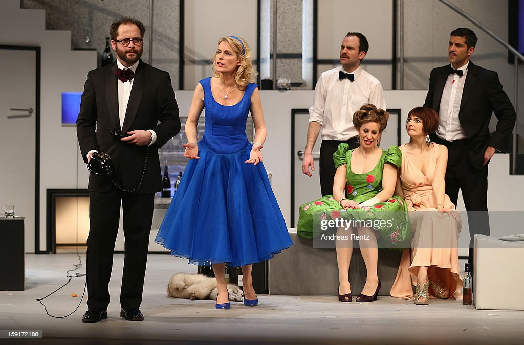 Nikolaus Szentmiklosi, Maria Furtwaengler, Urs Staempfli, Alessija Lause, Nicole Marischka and Pasquale Aleardi perform during the 'Geruechte...Geruechte...' photo rehearsal at Komoedie am Kurfuerstendamm Theater on January 9, 2013 in Berlin, Germany.