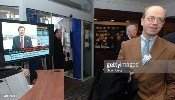 Nikolaus von Bomhard chairman Munich Re walks in the Hotel Belvedere during the World Economic Forum in Davos Switzerland on January 27 2005