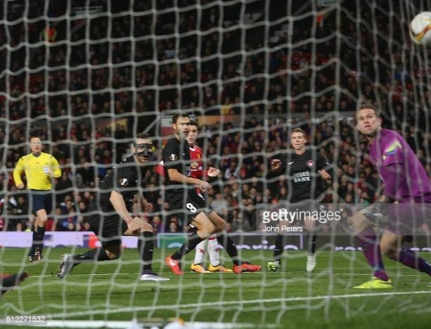 Nikolay Bodurov of FC Midtjylland scores an owngoal during the UEFA Europa League match between Manchester United and FC Midtjylland at Old Trafford...