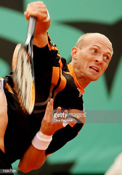 Nikolay Davydenko of Russia serves to Stefano Galvani of Italy during the Men's Singles 1st Round match on day two of the French Open at Roland...