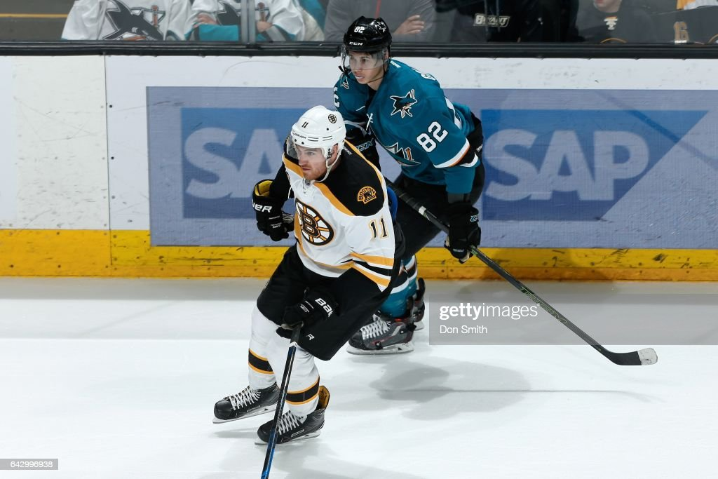 Nikolay Goldobin #82 of the San Jose Sharks skates against Jimmy Hayes #11 of the Boston Bruins during a NHL game against the at SAP Center at San Jose on February 19, 2017 in San Jose, California.