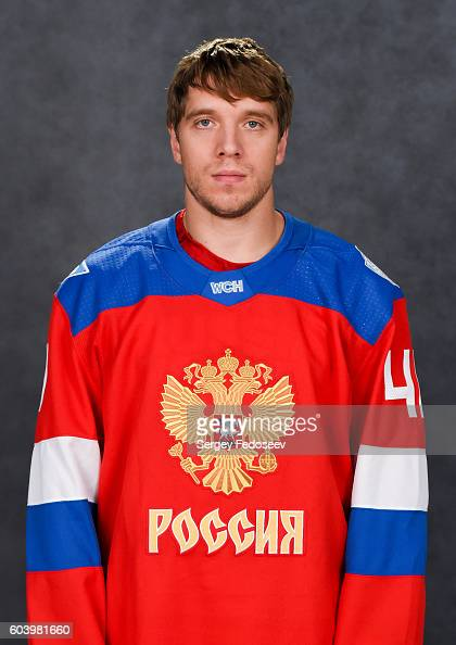 Nikolay Kulemin of Team Russia poses for his official headshot for the 2016 World Cup of Hockey Tournament on September 5 2016 at the SP Yubileyny in...