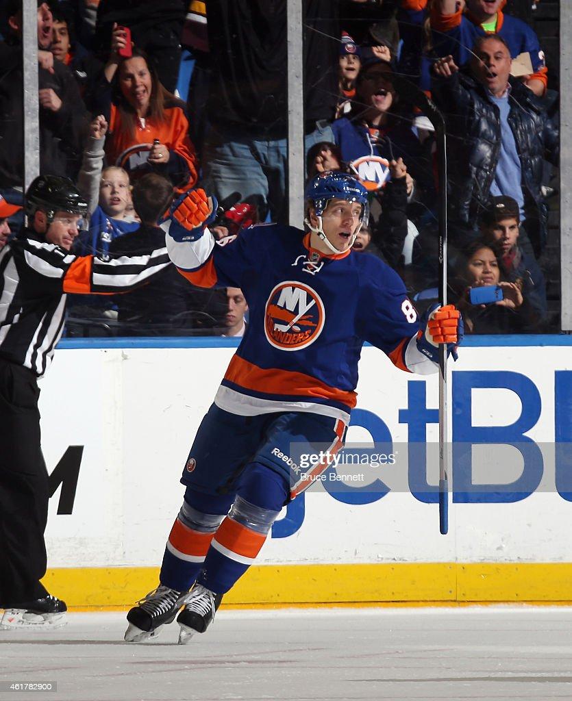 Nikolay Kulemin of the New York Islanders celebrates his first period goal against the Philadelphia Flyers at the Nassau Veterans Memorial Coliseum...
