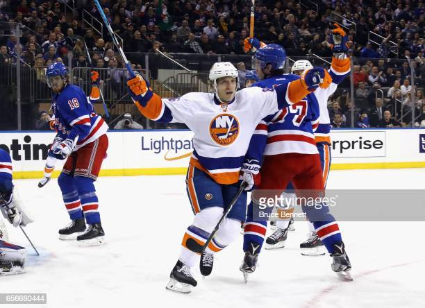 Nikolay Kulemin of the New York Islanders celebrates his goal at 501 of the third period against the New York Rangers at Madison Square Garden on...
