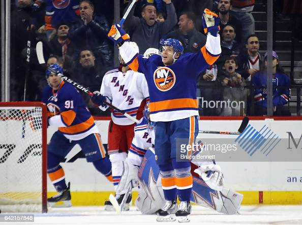 Nikolay Kulemin of the New York Islanders celebrates his shorthanded goal at 303 of the third period against the New York Rangers at the Barclays...