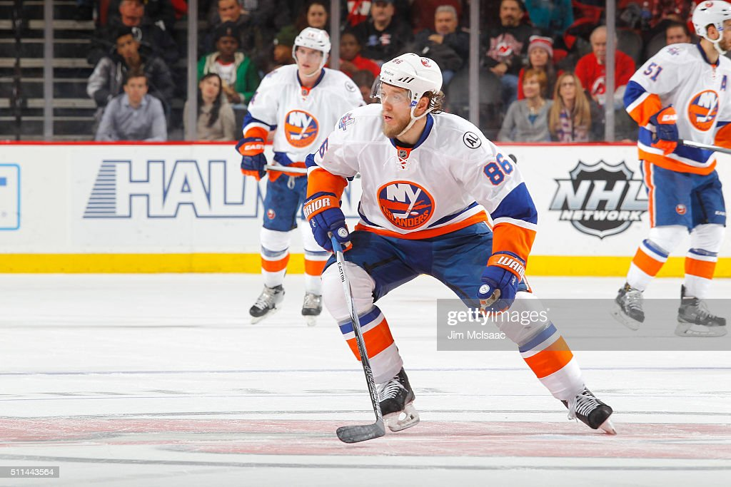 Nikolay Kulemin of the New York Islanders in action against the New Jersey Devils at the Prudential Center on February 19 2016 in Newark New Jersey...
