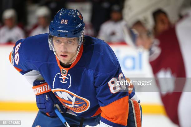 Nikolay Kulemin of the New York Islanders looks on against the Colorado Avalanche at the Barclays Center on February 12 2017 in Brooklyn borough of...