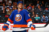 Nikolay Kulemin of the New York Islanders skates against the Nashville Predators at the Barclays Center on October 15 2015 in Brooklyn borough of New...