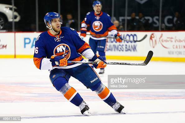 Nikolay Kulemin of the New York Islanders skates against the Colorado Avalanche during the game at the Barclays Center on November 30 2015 in...