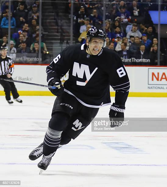 Nikolay Kulemin of the New York Islanders skates against the Dallas Stars at the Barclays Center on January 19 2017 in the Brooklyn borough of New...