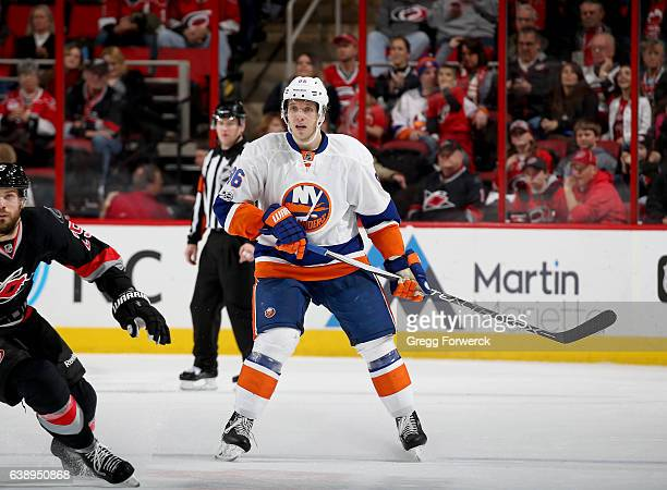 Nikolay Kulemin of the New York Islanders skates for position on the ice during an NHL game against the Carolina Hurricanes on January 14 2017 at PNC...