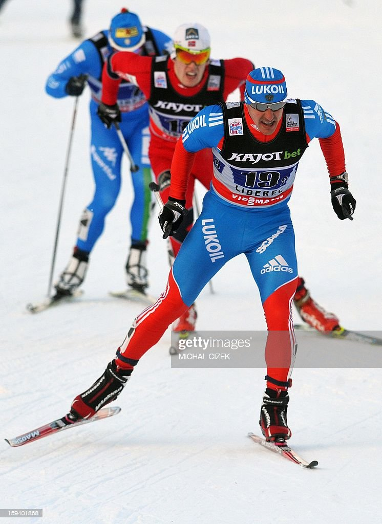 Nikolay Morilov of Russia 2 team leads a pack during the men's 6 x 1.6 km Free sprint final of the FIS Cross-Coutntry World Cup on January 13, 2013 in Liberec. Mikhail Devjatiarov and Nikolay Morilov of Russia 2 won this event ahead Eirik Brandsdal and Paal Golberg of Norway 1and Alexey Petukhov and Nikita Kriukov of Russia 2 took third place.