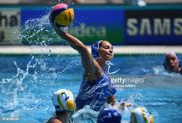 Nikoleta Eleftheriadou of Greece shoots during the Women's Water Polo Group D preliminary round match between Australia and Greece on day seven of...