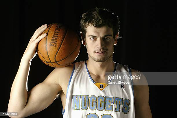 Nikoloz Tskitishvili of the Denver Nuggets poses for a portrait during NBA Media Day on October 4 2004 in Denver Colorado NOTE TO USER User expressly...