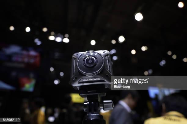 A Nikon Corp KeyMission 360 4Kcapable 360degree action camera sits on display at the CP Camera and Photo Imaging Show in Yokohama Kanagawa Japan on...