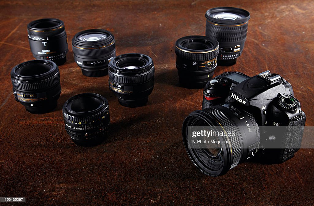 A Nikon D90 SLR with a selection of prime lenses, taken on May 10, 2012.